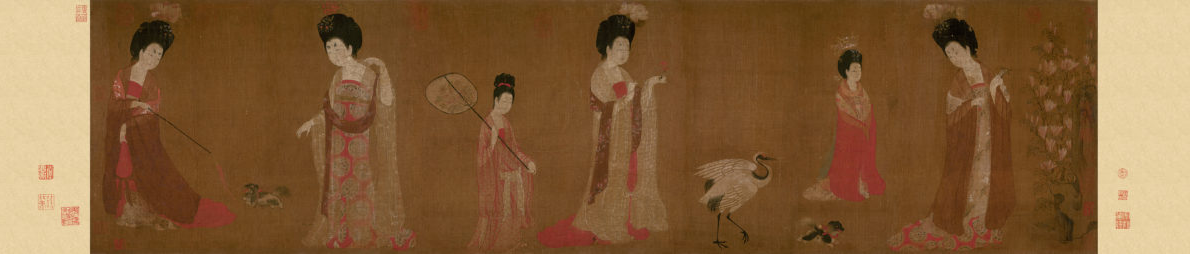 Zhou Fang: Court Ladies Wearing Flowered Headdresses (46x180) Liaoning Provincial Museum, Shenyang
